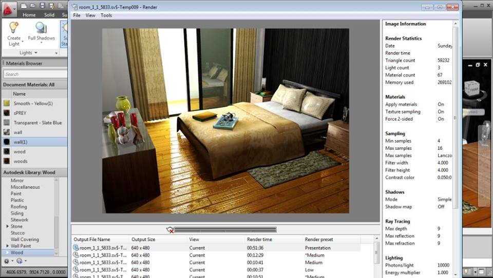 AutoCAD Interior Rendering Settings