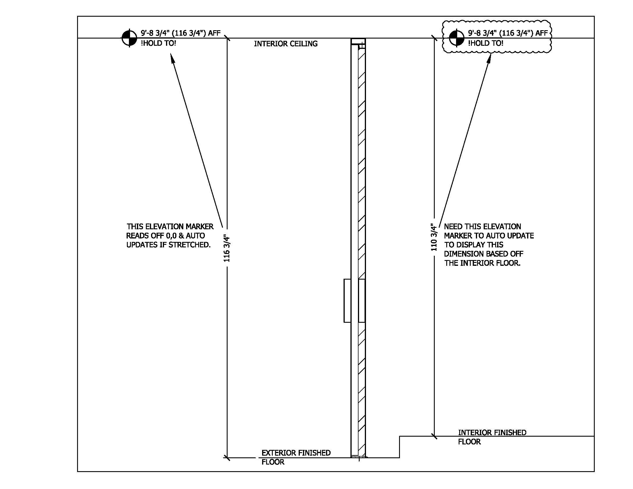 Floor Elevation Definition : Placing elevation marker with multiple baselines cad