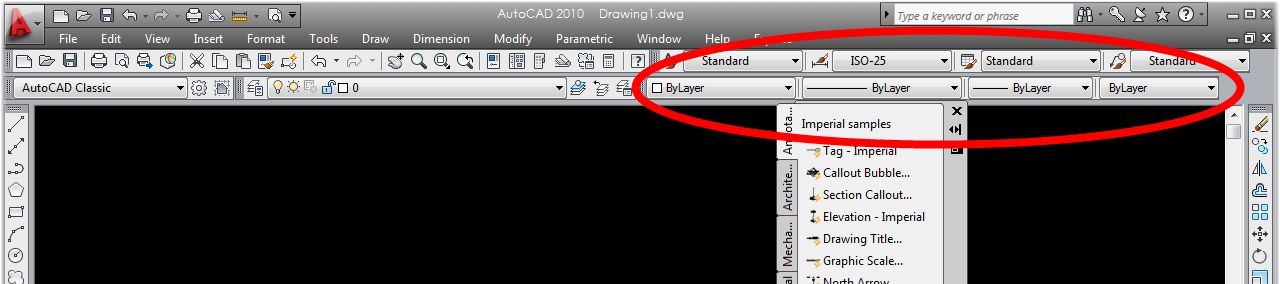 missing line type/style/color toolbar - CAD Forum discussion