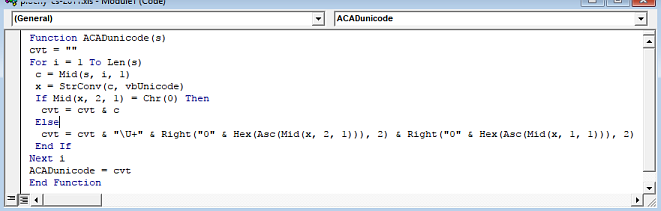 CAD Forum - Excel: convert Unicode texts to \U+ codes for
